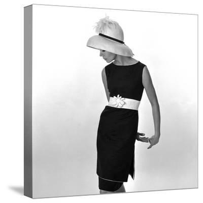 Black Sleeveless Dress with White Belt, 1960s