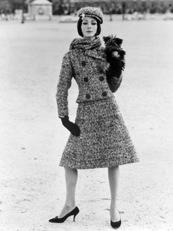Christian Dior Tweed Suit with Cap and Scarf, 1961