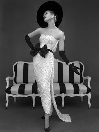 Model in John Cavanagh's Strapless Evening Gown, Spring 1957
