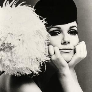 Nicole de la Marge in a Peter Shepherd Velvet Cap, 1965 by John French