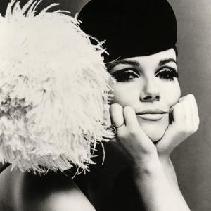 Nicole de la Marge in a Peter Shepherd Velvet Cap, 1965 by John French