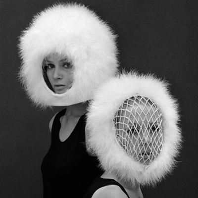 Two Capsule Line Feathered Helmets, 1960s by John French