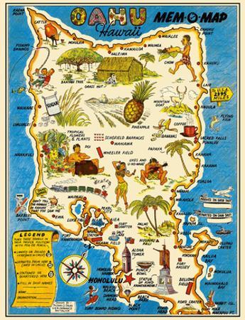 Oahu, Hawaii Mem-O-Map - World War II Military Souvenir Map