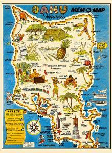 Oahu, Hawaii Mem-O-Map - World War II Military Souvenir Map by John G. Drury