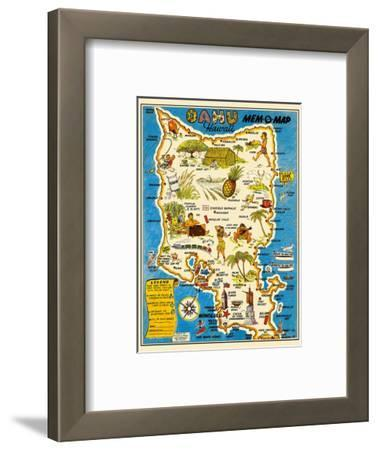 Oahu, Hawaii Mem-O-Map - World War II Military Souvenir Map