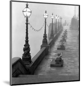 Lamp Posts and Benches by the River Thames by John Gay