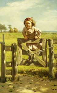 Young Girl Swinging on a Gate by John George Brown
