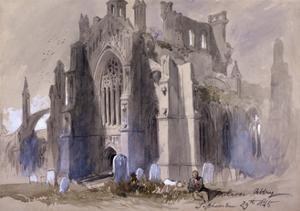 Melrose Abbey, 1845 by John Gilbert