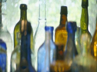 Abstract of Glass Bottles in Window
