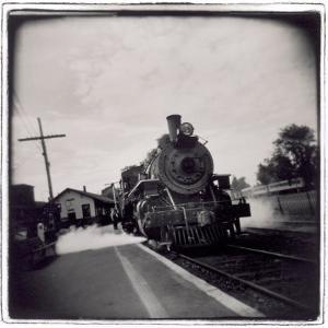 Train Pulling Into Station by John Glembin