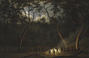 Dance of the Natives of Van Diemen's Land, Moonlight by John Glover