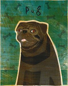 Pug (black) by John Golden