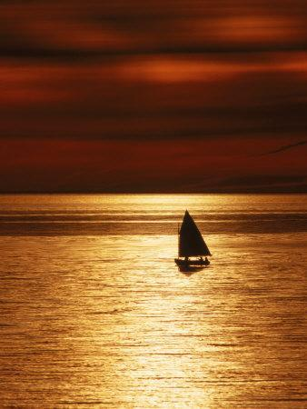 Silhouetted Sailboat at Sunset, Cape Cod, MA