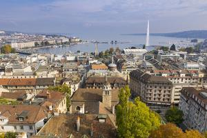 Town view from St. Peter's Cathedral, Geneva, Switzerland, Europe by John Guidi