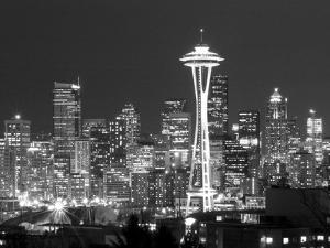 Seattle Skyline Mono by John Gusky