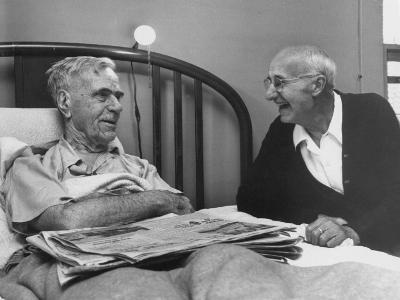 John H. Heblich Visiting Elderly Man in Bed with Broken Hip-Francis Miller-Photographic Print