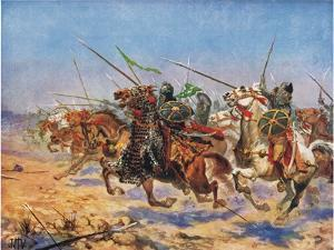 The Cavalry of Shahrbaraz Charging, Illustration from 'Hutchinson's History of the Nations' by John Harris Valda