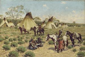 Sioux Encampment, Porcupine, 1910 by John Hauser