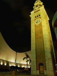Clock Tower at Night Near Kowloon Space Museum, Tsim Sha Tsui Kowloon, Hong Kong by John Hay