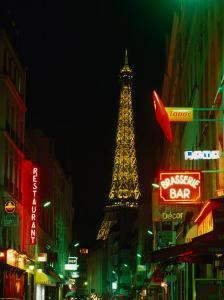 Eiffel Tower from Rue St. Dominique at Night Paris, France by John Hay