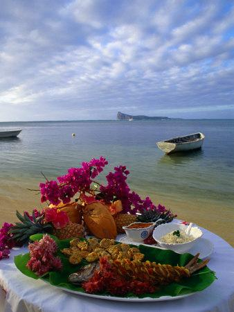 Food Presentation on Table on Beach, Mauritius