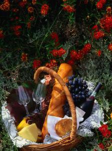Picnic Basket (Wine, Bread & Cheese) in Bed of Flowers, Western Australia, Australia by John Hay