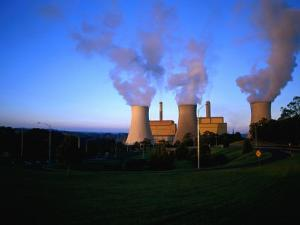 Steam Rising from Cooling Towers of Yallourn Power Station in Latrobe Valley Yallourn, Australia by John Hay