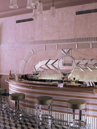 Art Deco Period Bar Area, Usha Kiran Palace Hotel, Gwalior, Madhya Pradesh State, India