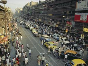 Busy Street, Calcutta, West Bengal, India by John Henry Claude Wilson