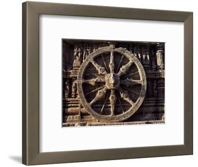 Carved Chariot Wheel, Sun Temple Dedicated to the Hindu Sun God Surya, Konarak, Orissa State