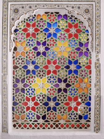 Coloured Glass Jali in Hallway Within the Palace, Deo Garh Palace Hotel, Deo Garh, India