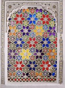Coloured Glass Jali in Hallway Within the Palace, Deo Garh Palace Hotel, Deo Garh, India by John Henry Claude Wilson