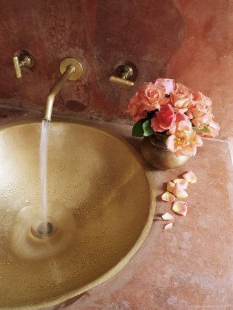 Detail of Brass Hand Beaten Bathroom Sink in Bathroom Area of Residence, Amber, Near Jaipur, India