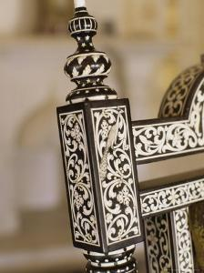 Ebony Wood and Ivory Inlay Detail on One of the Pair of Throne Chairs, Sirohi Palace, Sirohi, India by John Henry Claude Wilson