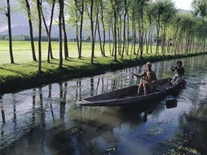 Paddy Fields and Waterway with Local Boat, Kashmir, India by John Henry Claude Wilson