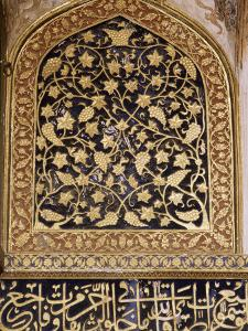 Various Painted, Gilded and Stone Inlay Detail Inside the Tomb, the Tomb of Akbar, Near Agra by John Henry Claude Wilson