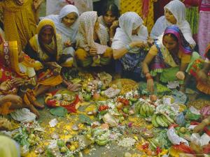Women at the Lakshmi Puja Festival Celebrating Lakshmi, the Hindu Goddess of Wealth and Beauty by John Henry Claude Wilson