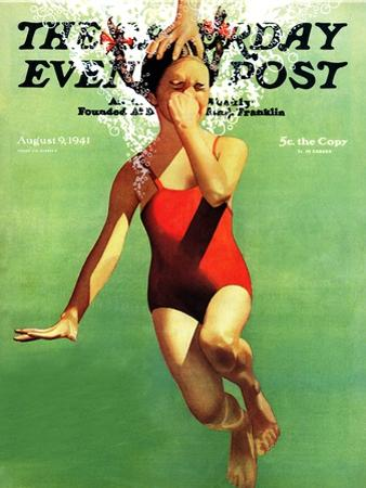 """Dunked Under Water,"" Saturday Evening Post Cover, August 9, 1941 by John Hyde Phillips"