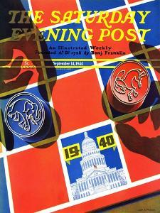 """""""Election Checkerboard,"""" Saturday Evening Post Cover, September 14, 1940 by John Hyde Phillips"""