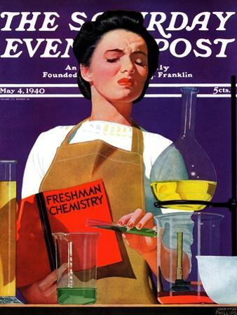 """""""Freshmen Chemistry,"""" Saturday Evening Post Cover, May 4, 1940 by John Hyde Phillips"""