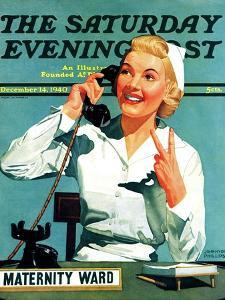 """Maternity Ward,"" Saturday Evening Post Cover, December 14, 1940 by John Hyde Phillips"