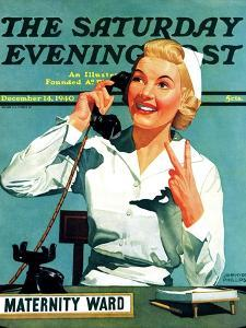 """""""Maternity Ward,"""" Saturday Evening Post Cover, December 14, 1940 by John Hyde Phillips"""