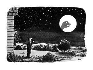 A man outside his house looks at the moon.  He is surprised to see a shado? - New Yorker Cartoon by John Jonik