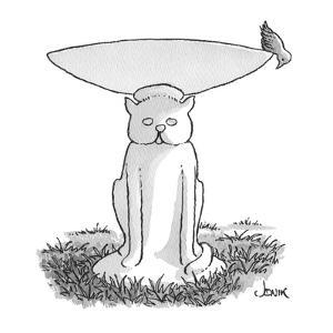 bird at edge of bird bath looks down at pedestal which is cat-shaped - Cartoon by John Jonik