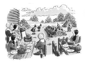Shows first Thanksgiving where the pilgrims and the Indians are starting a? - New Yorker Cartoon by John Jonik