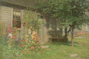 Hollyhocks, Nantucket, Mid- to Late-19th Century by John Joseph Enneking