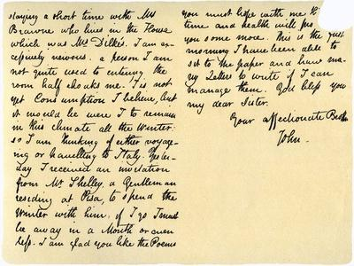 Letter from John Keats to His Sister, Fanny Keats, 14th August 1820