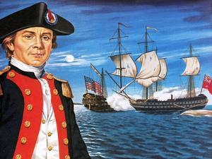 John Paul Jones, with His Ship Flying the Flag of the Rebellious Colonists of North America by John Keay