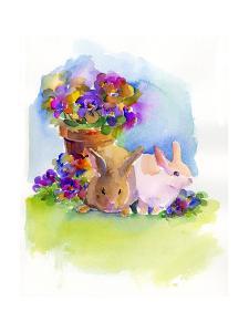 Bunnies with Pansies, 2014 by John Keeling