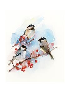 Chickadees with Berries, 2017 by John Keeling
